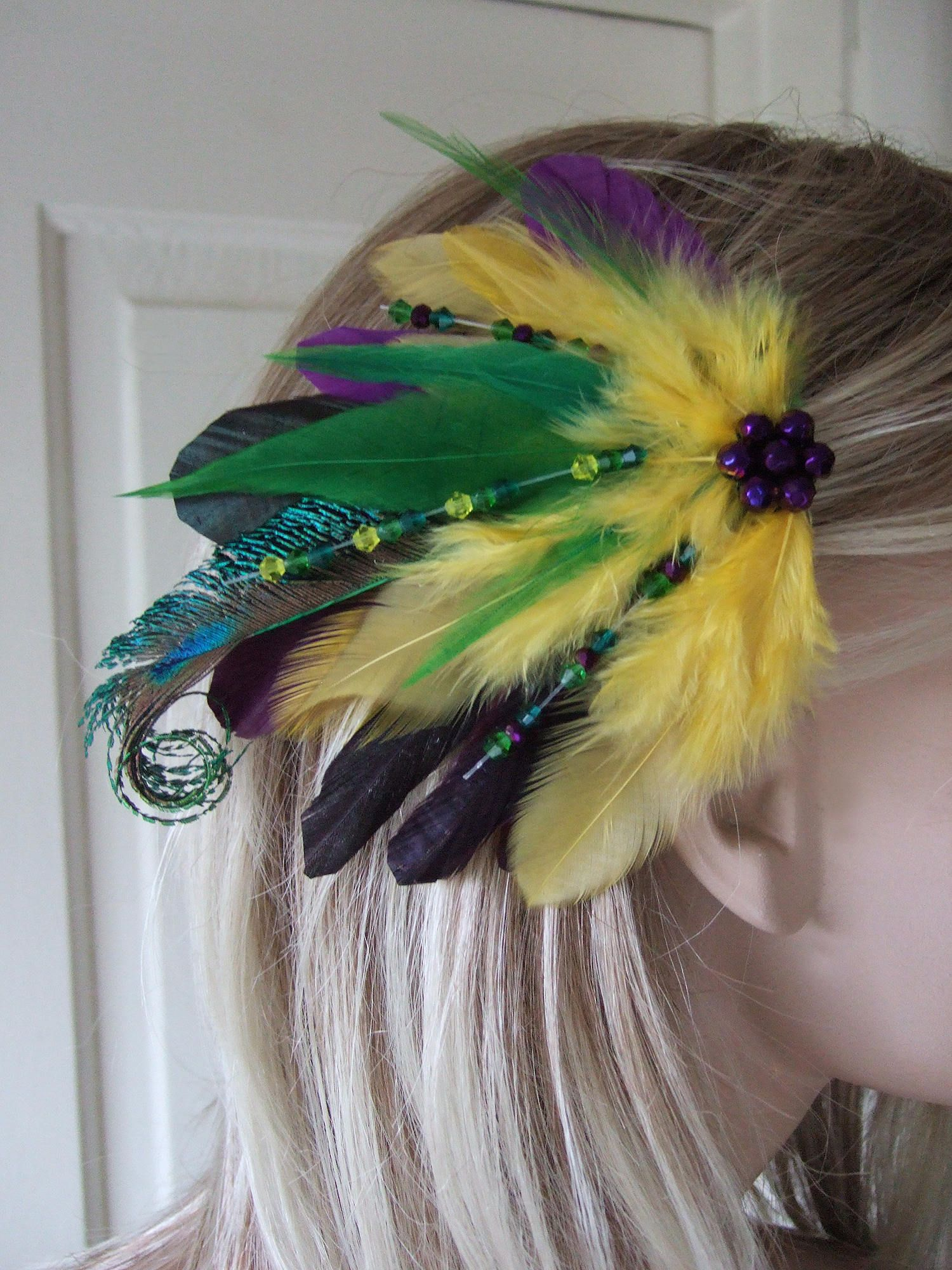 0d6df24490c Green Purple   Yellow Peacock Feathers with Swarovski Crystals Tropical  Bridal Fascinator
